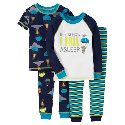 Toddler Boys' 4-Piece Pajama Set - Blue 12  M