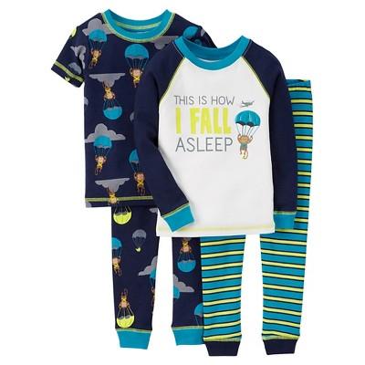 Toddler Boys' 4-Piece Pajama Set - Blue 12  M