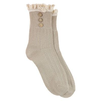 Women's Fashion Crew Socks - Natural One Size