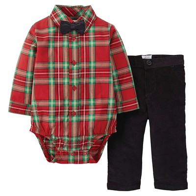 Just One You™ Made by Carter's® Newborn Holiday Dressy Set Red Plaid with Black Bow Tie 3M