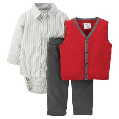 Just One You™ Made by Carter's® Newborn Holiday Dressy Set Red Vest NB