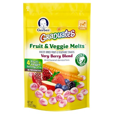 Gerber Graduates Fruit & Veggie Melts, Very Berry Blend - 1oz (3 Pack)