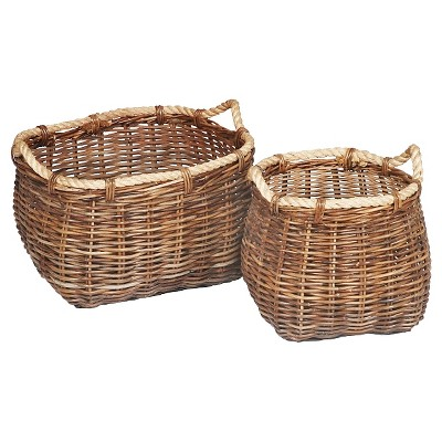 Malia Curved Rattan Wicker Baskets - Set of 2