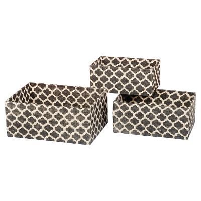 Ubin Burlap Rectangular Shelf Baskets - Set of 3