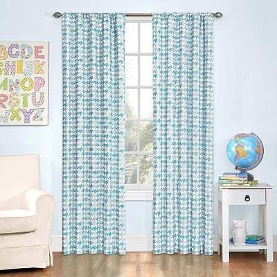 "Eclipse My Scene Zane Houndstooth Blackout Window Curtain Panel - Blue (42""x84"")"