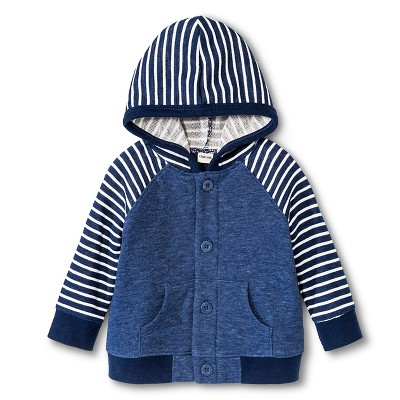 New Born Boys' Hooded Button-Up - Nighttime Blue 12 M