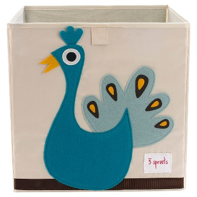 3 Sprouts Fabric Cube Storage Bin - Peacock