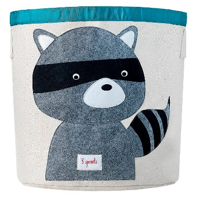 3 Sprouts Canvas Extra Large Round Storage Bin - Raccoon