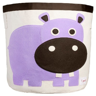 3 Sprouts Canvas Extra Large Round Storage Bin - Hippo
