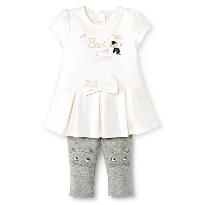 Newborn Girls' Kitty Tunic and Legging 2 Piece Set - Almond Cream 3-6 M