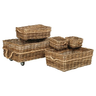 Malia Rattan Wicker 5-Piece Basket Set On Wheels