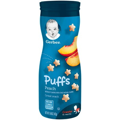 Gerber Puffs Cereal Snack, Peach - 1.48oz (3 Pack)