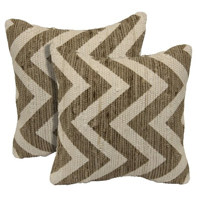 "Zig Zag Printed 2 Pack Chindi Toss Pillow - Taupe (18""x18"")"
