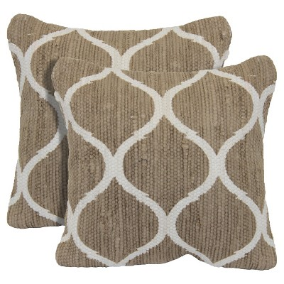 "Ogee Printed 2 Pack Chindi Toss Pillow - Taupe (18""x18"")"