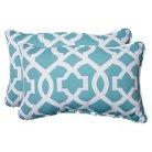 Pillow Perfect™ New Geo Outdoor 2-Piece Lumbar Throw Pillow Set - Green