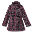 Girls' Double Breasted Tweed Peacoat Pink and Black