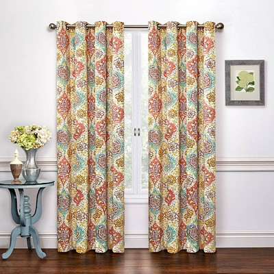 Curtain Panels Waverly Red Floral