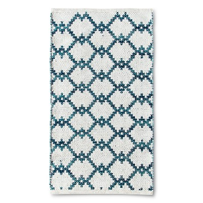 "Threshold™ Diamond Lattice Rug - Sour Cream/Deep Teal/Trout Stream (20x34"")"