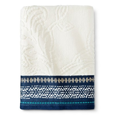 Bath Towel Engineered Global Cream/Metallic Blue - Threshold™