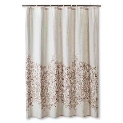Threshold™ Kareem Embroidered Paisley Shower Curtain - Toffee/Beachcomber
