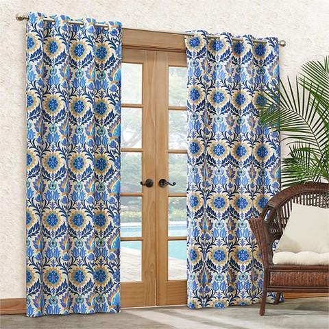 Santa Maria Indoor Outdoor Curtain Panel Turquoi Target
