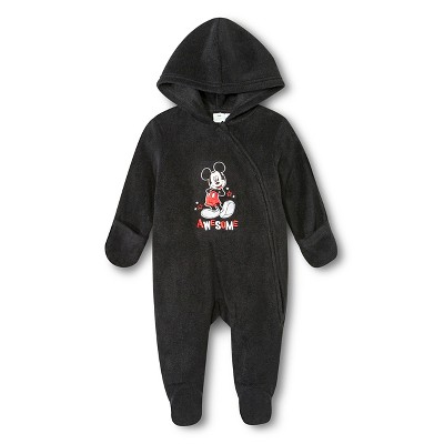 Mickey Mouse Newborn Boys' Coveralls - Black 3-6 M
