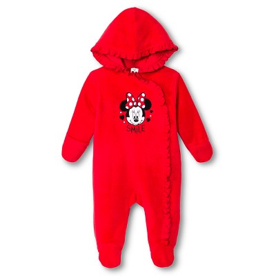 Minnie Mouse Newborn Girls' Coveralls - Red 3-6 M