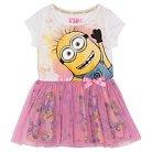 Minions Toddler Girls' Mesh Skirt Dress - White/Pink