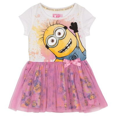 Minions Toddler Girls' Mesh Skirt Dress - White/Pink 18 M