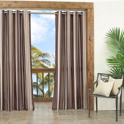 "Parasol Windley Key Stripe Indoor/Outdoor Curtain Panel - Neutral (52""x95"")"