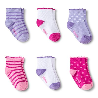 Toddler Girls' 6-Pack Ankle Socks - 3-6 M