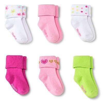 Hanes® Toddler Girls' 6-Pack Bobby Socks - Multicolored 4T/5T