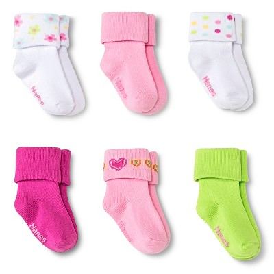 Toddler Girls' 6-Pack Socks - 3-6 M
