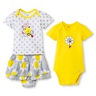 Gerber® Newborn Girls' Bumble Bee Flower 3 Piece Set - Yellow 3-6 M