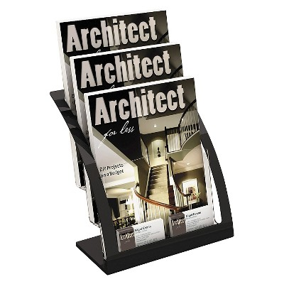 deflect-o® Three-Tier Magazine Holder, 11-1/4w x 6-15/16d x 13-5/16h, Black
