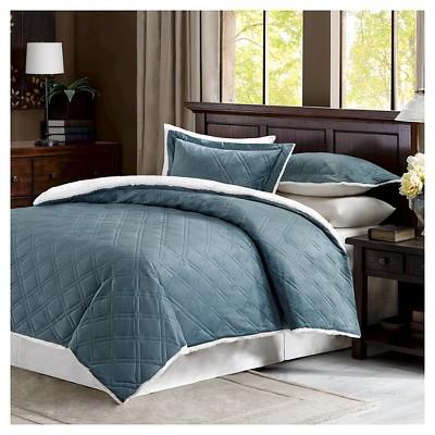 Double Diamond Mink Reverse to Berber Comforter Mini Set - Blue (King)