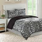 Bright Zebra Microfiber Down Alternative Comforter Mini Set