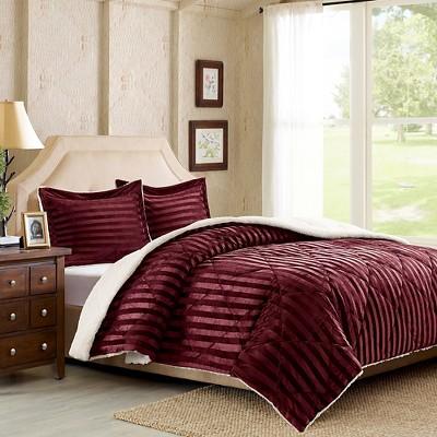 Dobby Stripe Mink Reverse to Berber Comforter Mini Set - Burgundy (Full/Queen)
