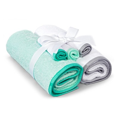Newborn 5-Piece Bath Towel Set - Green/White OSFM