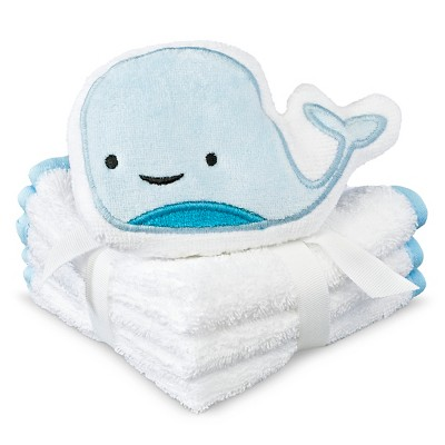 Newborn 4-Piece Whale Washcloth Set - Blue OSFM