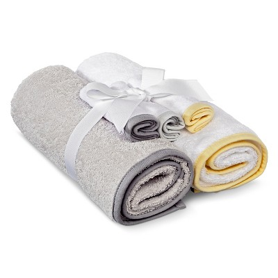 Newborn 5-Piece Bath Towel Set - Gray/White OSFM