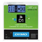 DYMO® D1 Standard Tape Cartridge for Dymo Label Makers, 1/2in x 23ft, Black on Blue