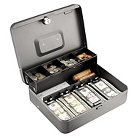 SteelMaster® Tiered Cash Box with Bill Weights, 12 in, Cam Key Lock, Charcoal