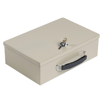 SteelMaster® Heavy-Duty Steel Fire-Retardant Security Cash Box, Key Lock, Sand