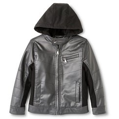 Boy's Faux Leather Bomber Jacket Charcoal
