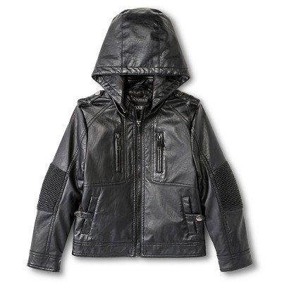 Boys' Faux Leather Bomber Jacket - Black 5-6