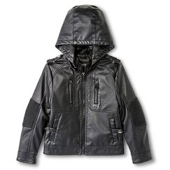 Boys' Hooded Faux Leather Moto Jacket