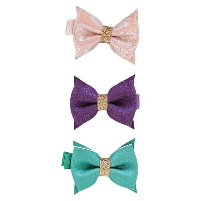 Newborn Girls' 3 Pack Suede Bows Green & Pink - Cherokee®