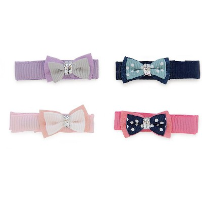 Newborn Girls' 4 Pack Mini Bow Pink & Blue - Cherokee®