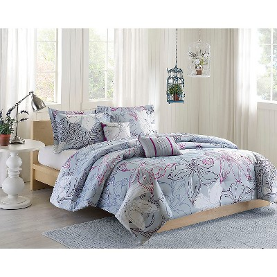 Athens 5 Piece Comforter Set - Blue/Purple (Full/Queen)